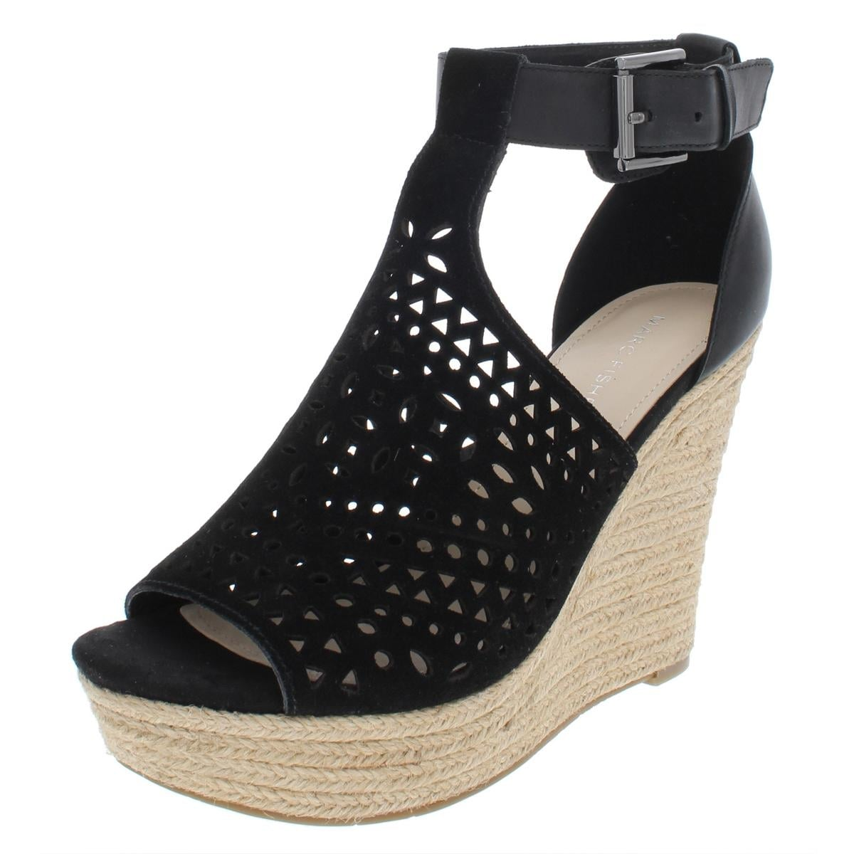 16e8a7ca9a8 Shop Marc Fisher Womens Hasina Wedge Sandals Perforated Suede - Free  Shipping Today - Overstock - 27638577