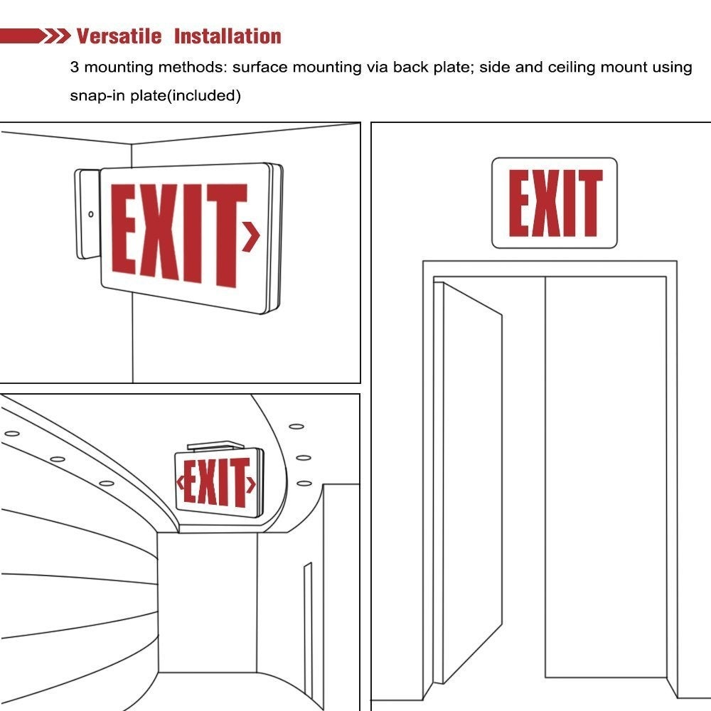 Exit Sign Wiring Diagram 277v Libraries Red Led Ul Listed Emergency Light Ac 120v Batteryred Battery Included