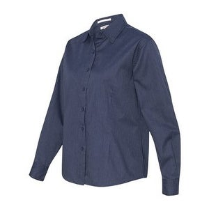 370dfad9332 Shop Women s Long Sleeve Stain-Resistant Tapered Twill Shirt - Heathered  Navy - XL - Free Shipping On Orders Over  45 - Overstock - 16243906