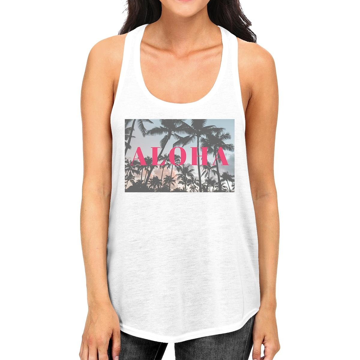7a83d9cbde8632 Shop Aloha Summer Beach Sunset Womens White Cotton Racerback Tank ...