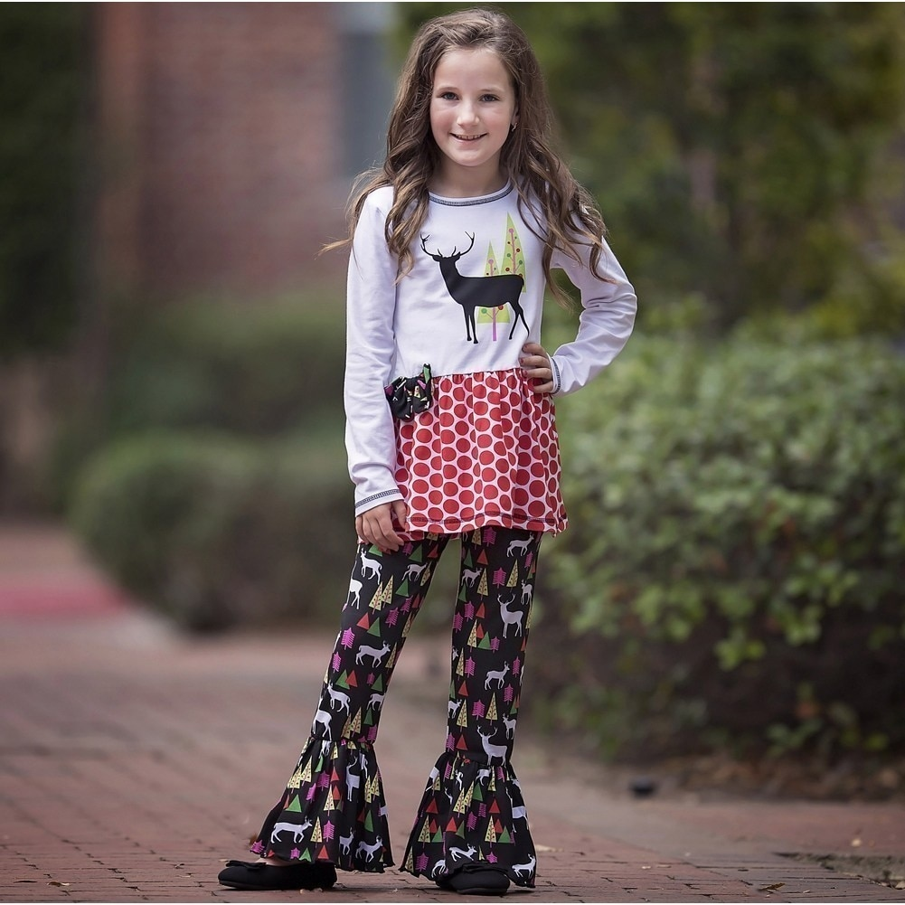 9a7c56a4e Shop AnnLoren Little Girls Red Reindeer Christmas Tree Tunic Pants Set -  Free Shipping On Orders Over $45 - Overstock.com - 18168766