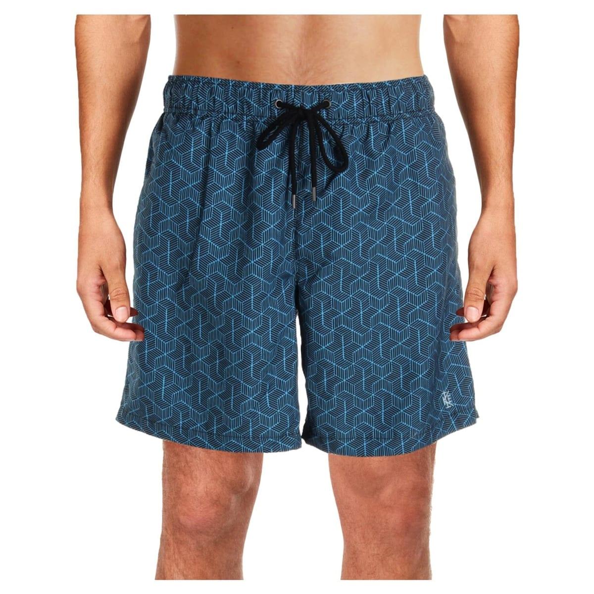 7348f313f0 IKE By Ike Behar Mens Retro Cube Printed Quick Dry Swim Trunks
