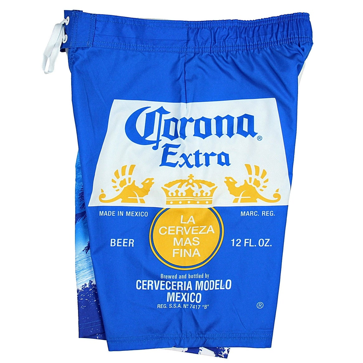 b2cacacafdf83 Shop Corona Extra Bottle Label & Palm Trees Men's Blue Swim Board Shorts -  Free Shipping On Orders Over $45 - Overstock - 20483487