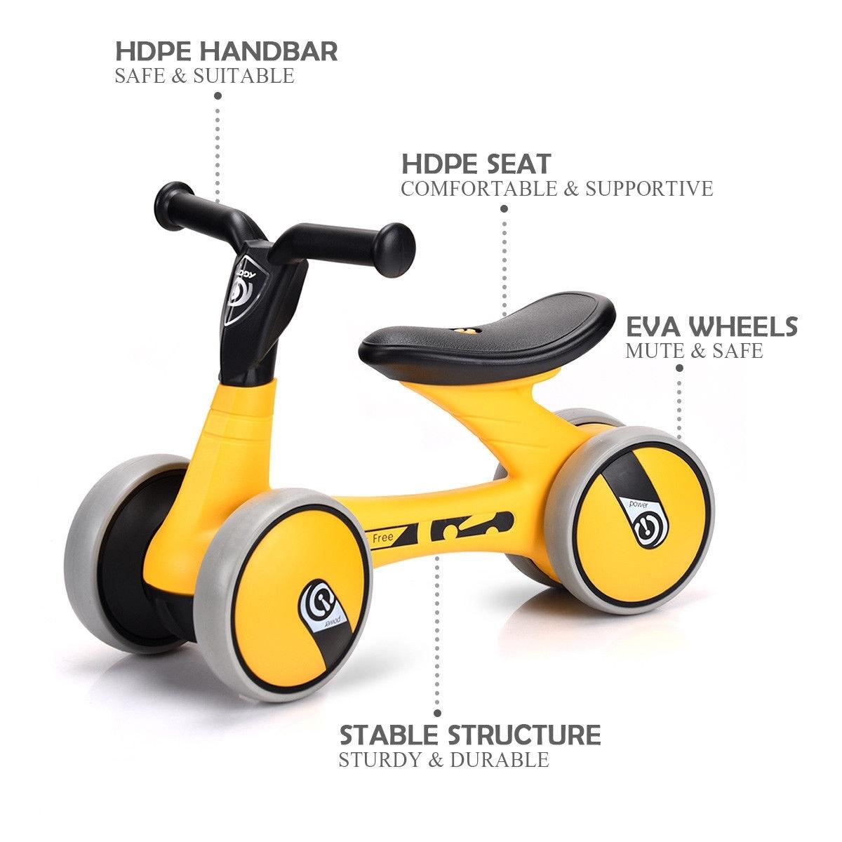 Shop Gymax 4 Wheels Kids Balance Bike Children Walker Toddler Toys