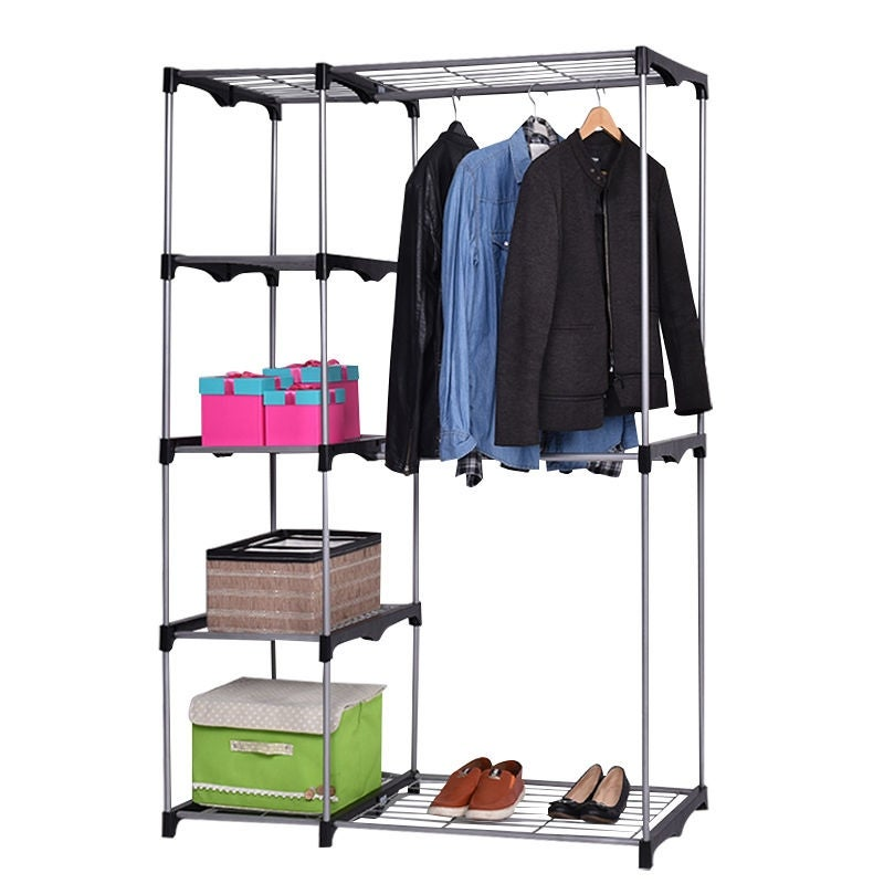 Costway Closet Organizer Storage Rack Portable Wardrobe Garment Hanger  Double Rod Shelf   Free Shipping Today   Overstock   23192859