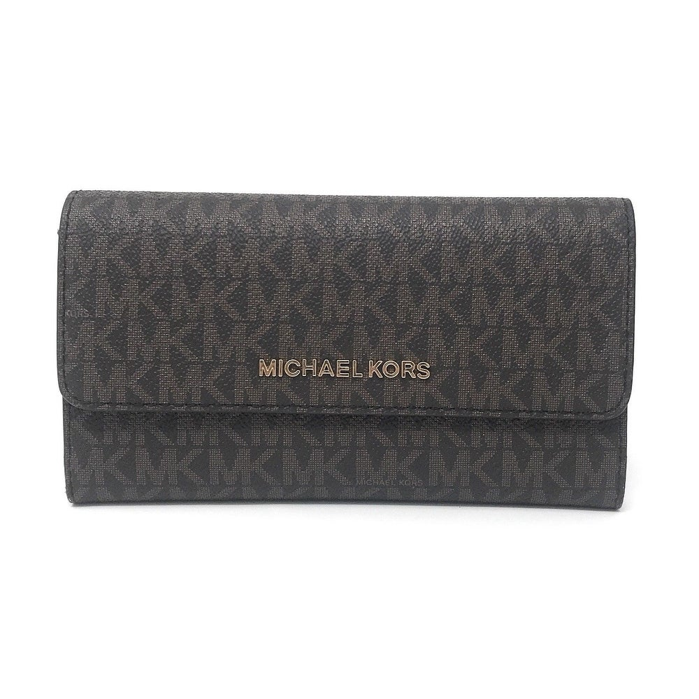 50df588cb1d7 Shop Michael Kors Jet Set Travel Large Trifold Signature PVC Wallet - Free  Shipping Today - Overstock - 23139702