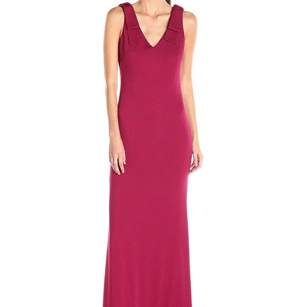 Nicole Miller Stretch Crepe Bow Shoulder V-Neck Evening Gown Dress ...