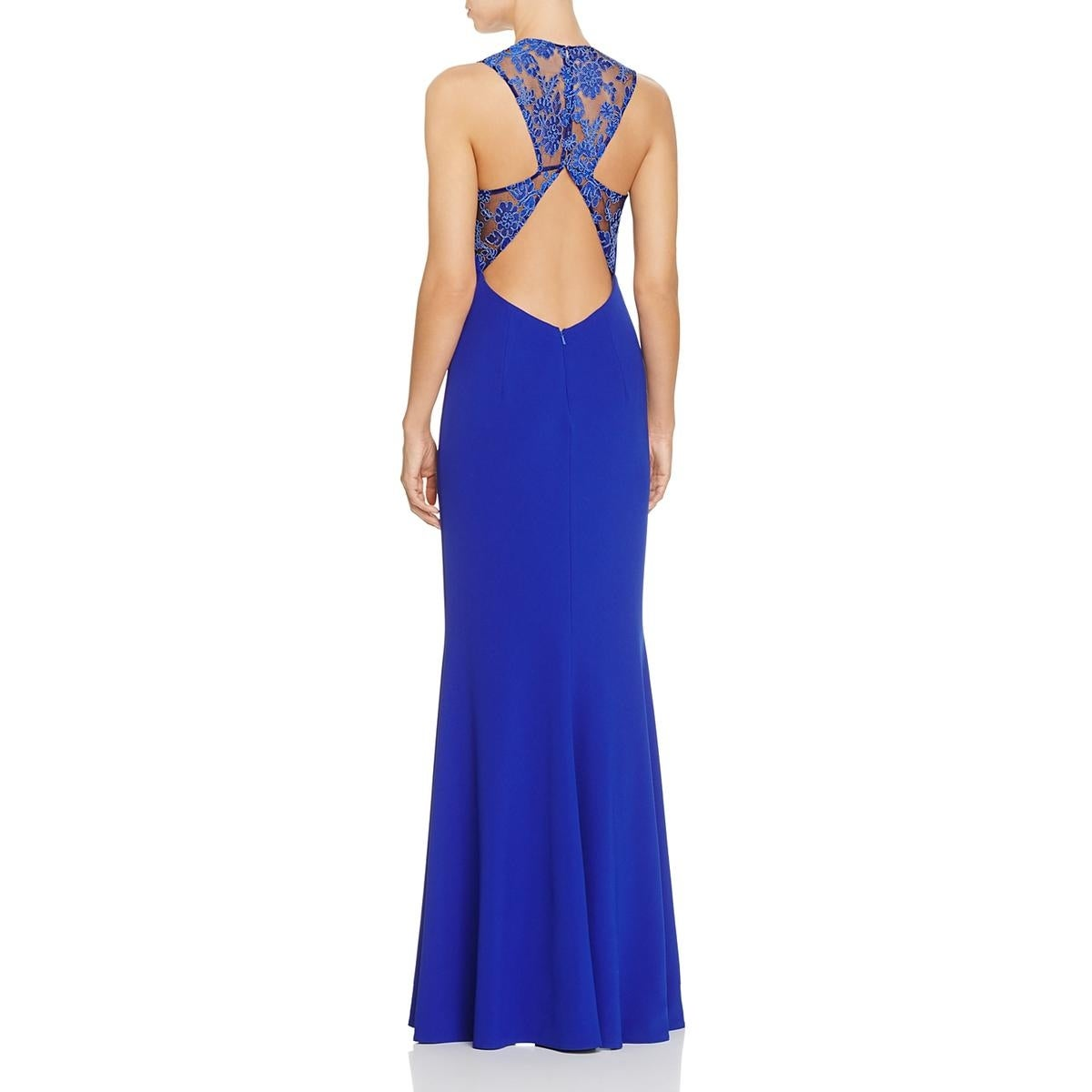 Shop JS Collections Womens Evening Dress V Neck Lace-Trim - Free ...