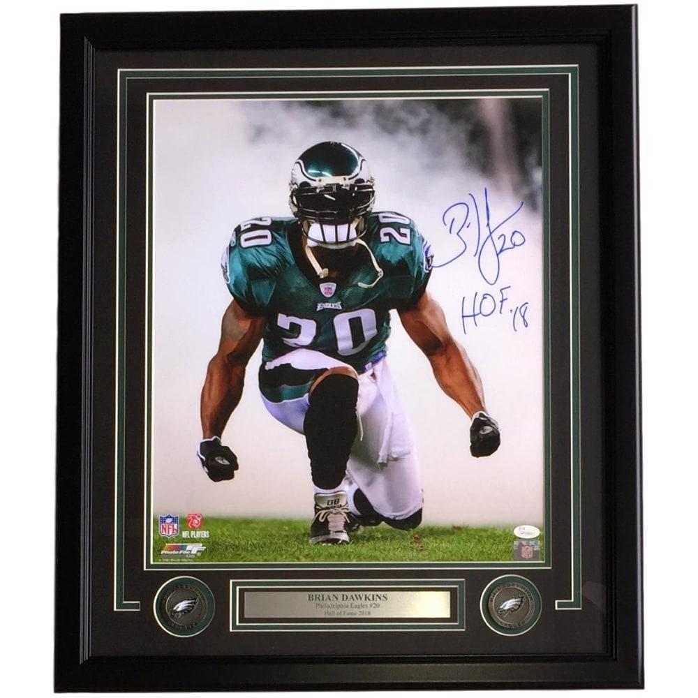 10dc9a6db3f Brian Dawkins Signed Framed 16x20 Philadelphia Eagles Smoke Photo HOF 18 JSA