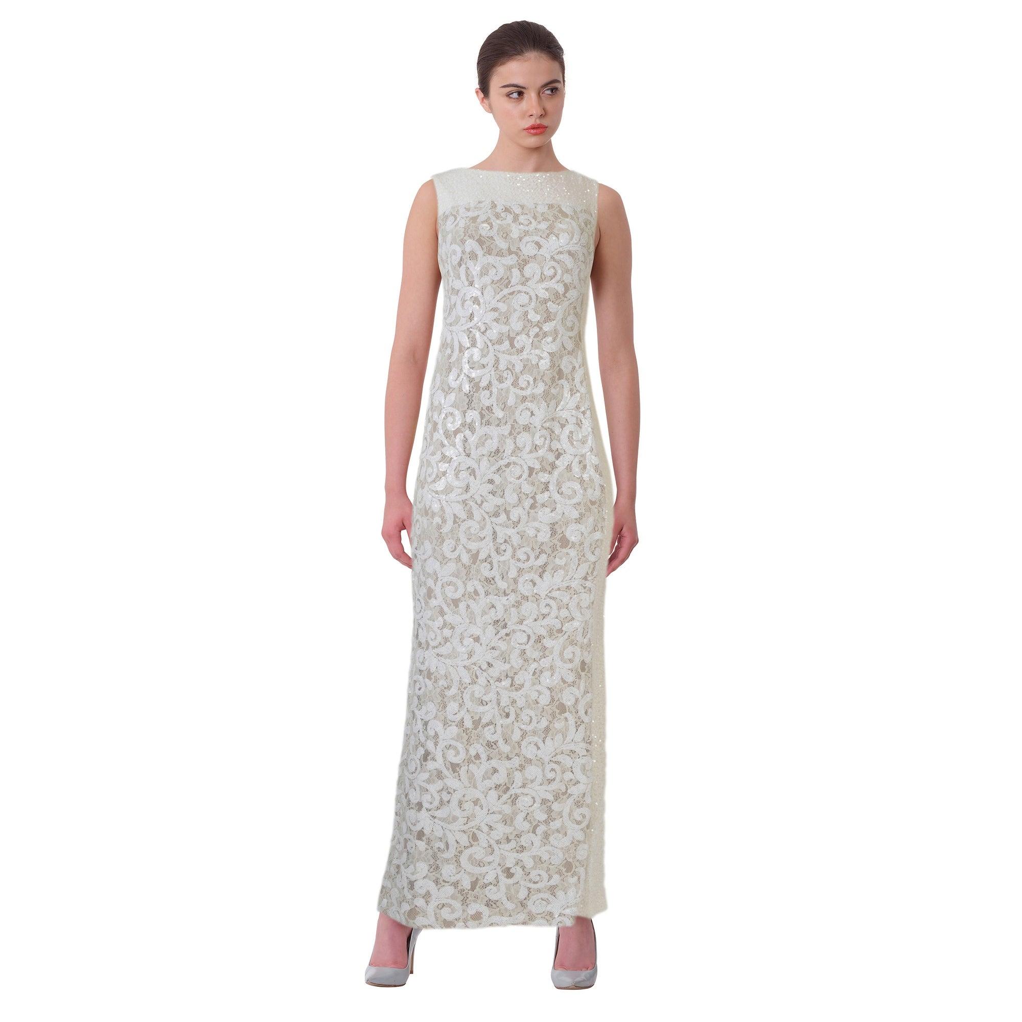 Shop Lauren Ralph Lauren Sequined Floral Lace Sleeveless Evening ...