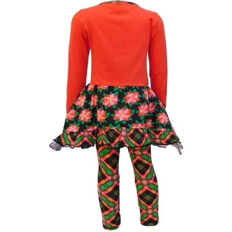 eddf8f8508e4 Shop AnnLoren Little Girls Red Reindeer Poinsettia Plaid Christmas Dress  Set - Ships To Canada - - 23081090