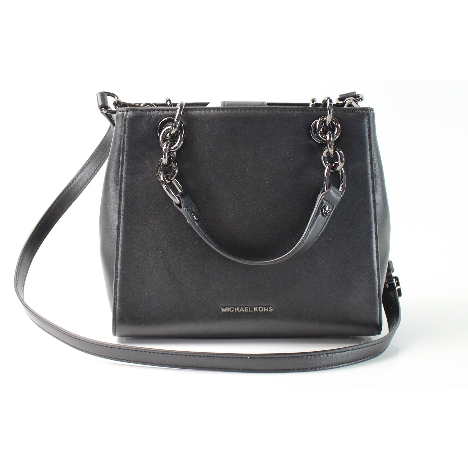df42f4cae23a33 Shop Michael Kors NEW Black Leather Small Floral Burst Satchel Purse - Free  Shipping Today - Overstock - 18387005
