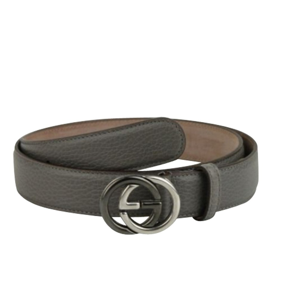 82dbf4342d9 Shop New Gucci Men s Grey Leather Belt with GG Buckle 295704 1226 ...