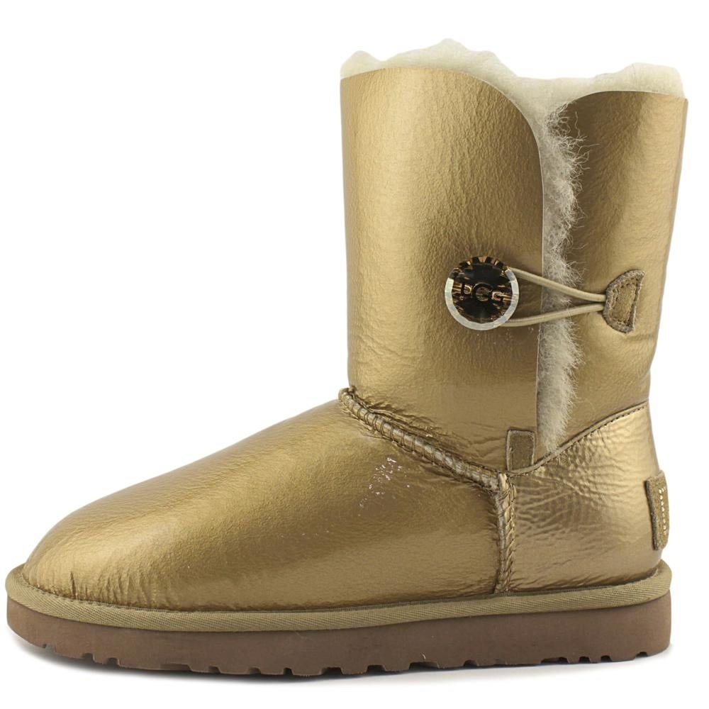 66143ff8f19 Ugg Australia Bailey Button Mirage Women Patent Leather Gold Winter Boot