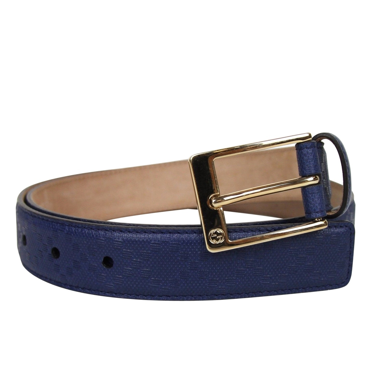 36e18fb58 Shop Gucci Men's Square Navy Blue Leather Belt With Buckle 345658 4232 -  Free Shipping Today - Overstock - 25455586