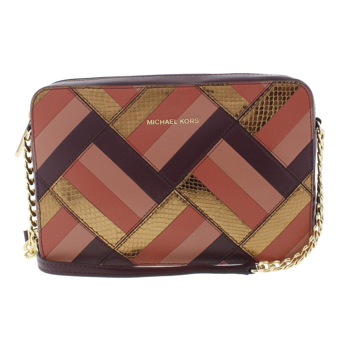 2a3b375b0b78 Michael Kors Womens Marquetry Crossbody Handbag Leather Patchwork - small