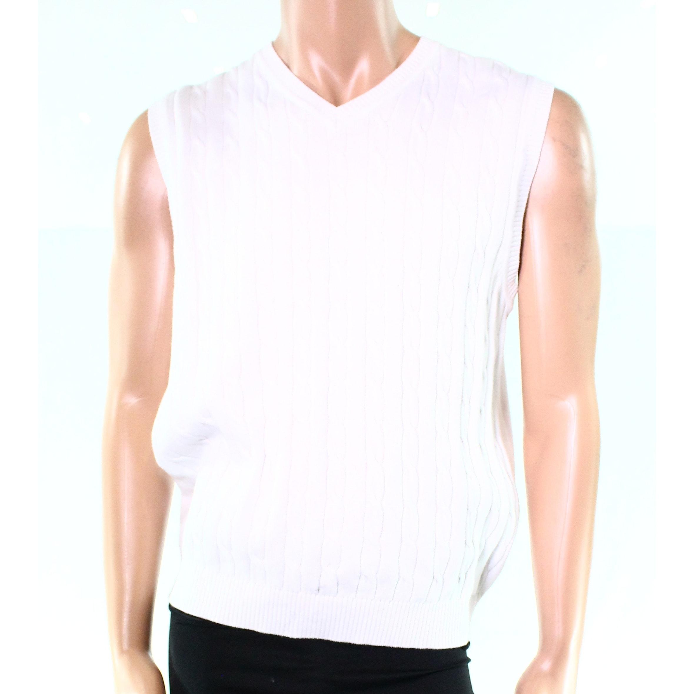 Club Room New White Mens Size Medium M Vest Cable Knit V Neck