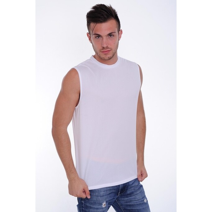 fda718395 Shop Men's Dri Fit Sleeveless Shirt Open Side Racer Back Gym Workout Rib  Ringer Muscle Top - Free Shipping On Orders Over $45 - Overstock - 12147357