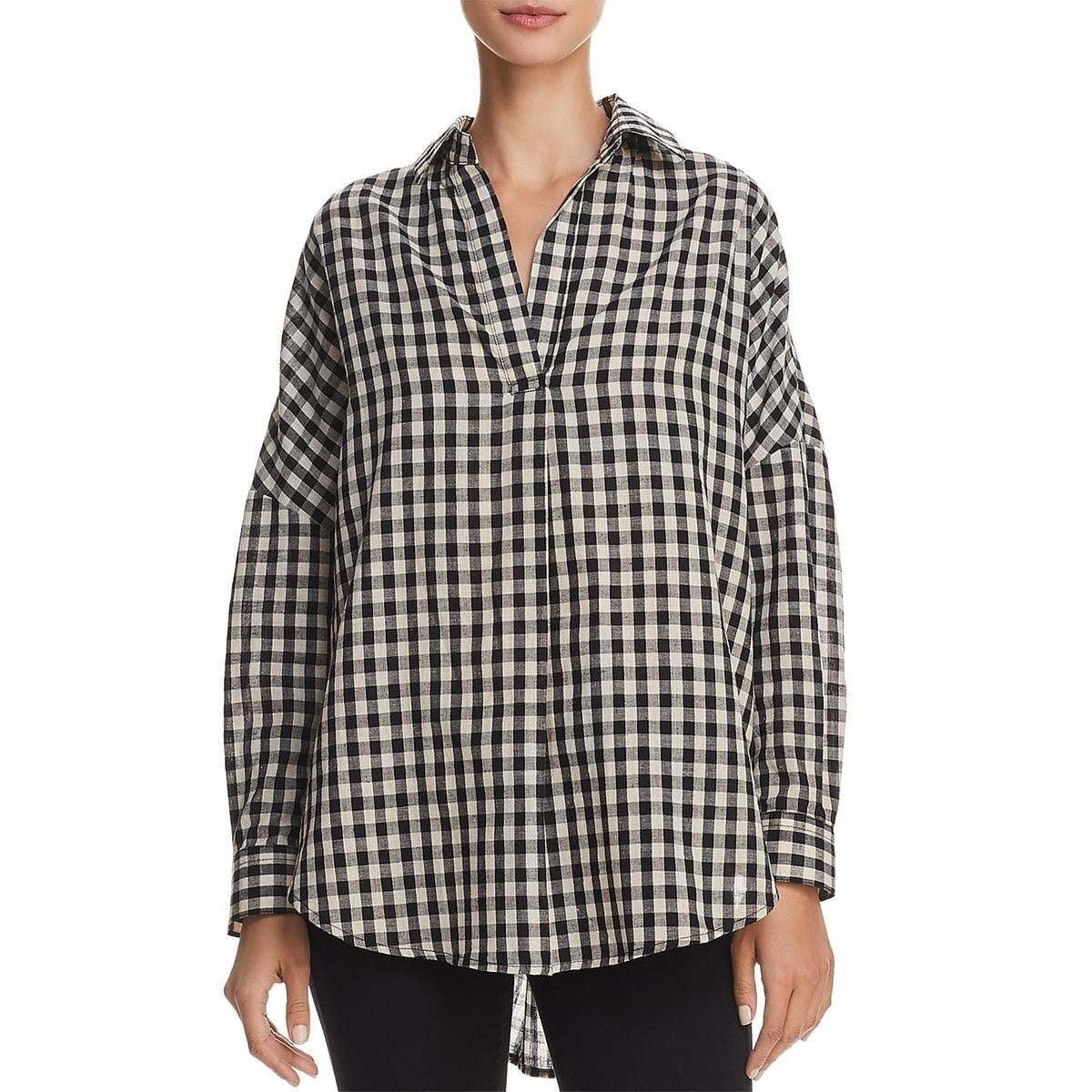 dcde228a Shop French Connection Womens Button-Down Top Pleated Gingham - Free  Shipping On Orders Over $45 - Overstock.com - 25723406