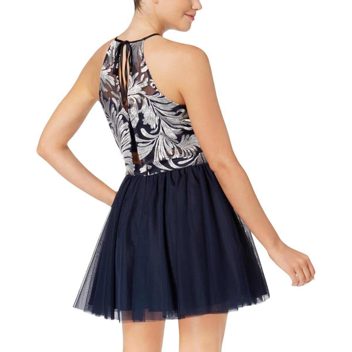 f235e067a18 Shop Teeze Me Womens Juniors Semi-Formal Dress Metallic Halter - 13 14 - On  Sale - Free Shipping On Orders Over  45 - Overstock - 27432745