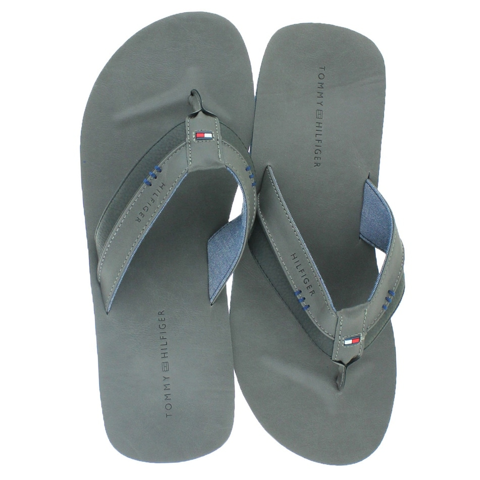 09727b0909bef Shop Tommy Hilfiger Davidson Men s Faux Leather Flip Flops - Free Shipping  On Orders Over  45 - Overstock - 19551693