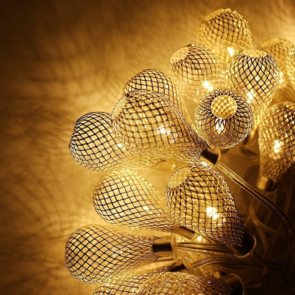 Xmas 29ft 40 Led Mesh Ball Fairy String Lights Christmas Warm White Raindrop For Party Wedding Holiday