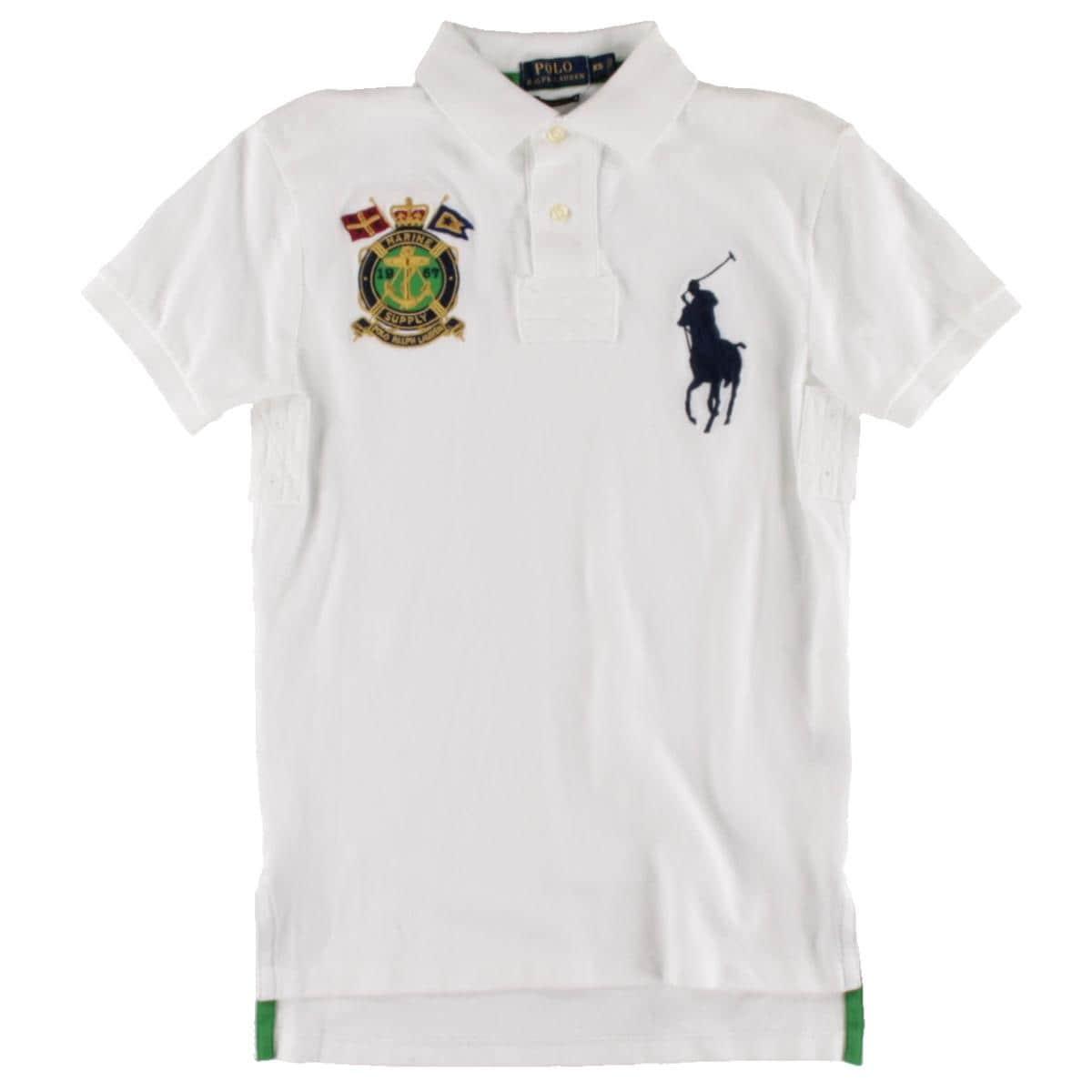 Shop Polo Ralph Lauren Mens Polo Shirt Patchwork Nautical Crest Xs