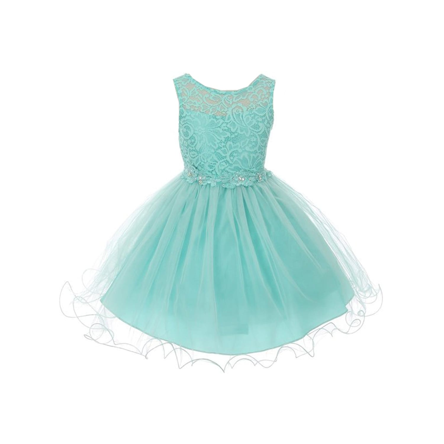 f86311e53e7 Shop Little Girls Aqua Floral Decorated Stretch Lace Tulle Flower Girl Dress  - Free Shipping Today - Overstock - 23082008