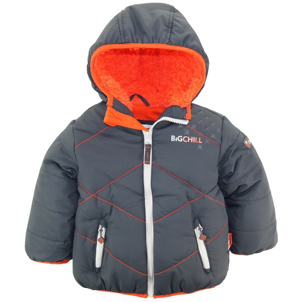 b7593367c49 Big Chill Toddler Boys Quilted Winter Puffer Jacket with Sherpa Hood Coat 2T