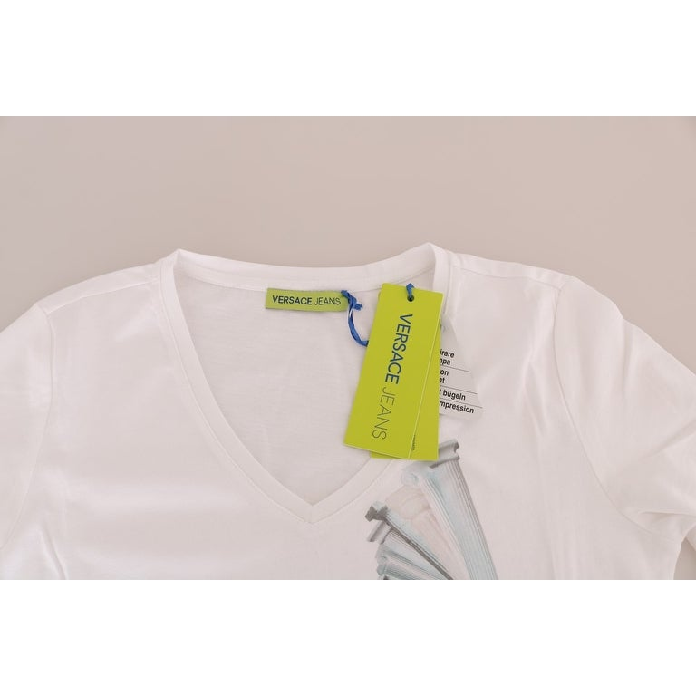 Shop Versace Jeans White Cotton V-neck Pullover Sweater - Free Shipping  Today - Overstock.com - 25438008 a5e0446198f