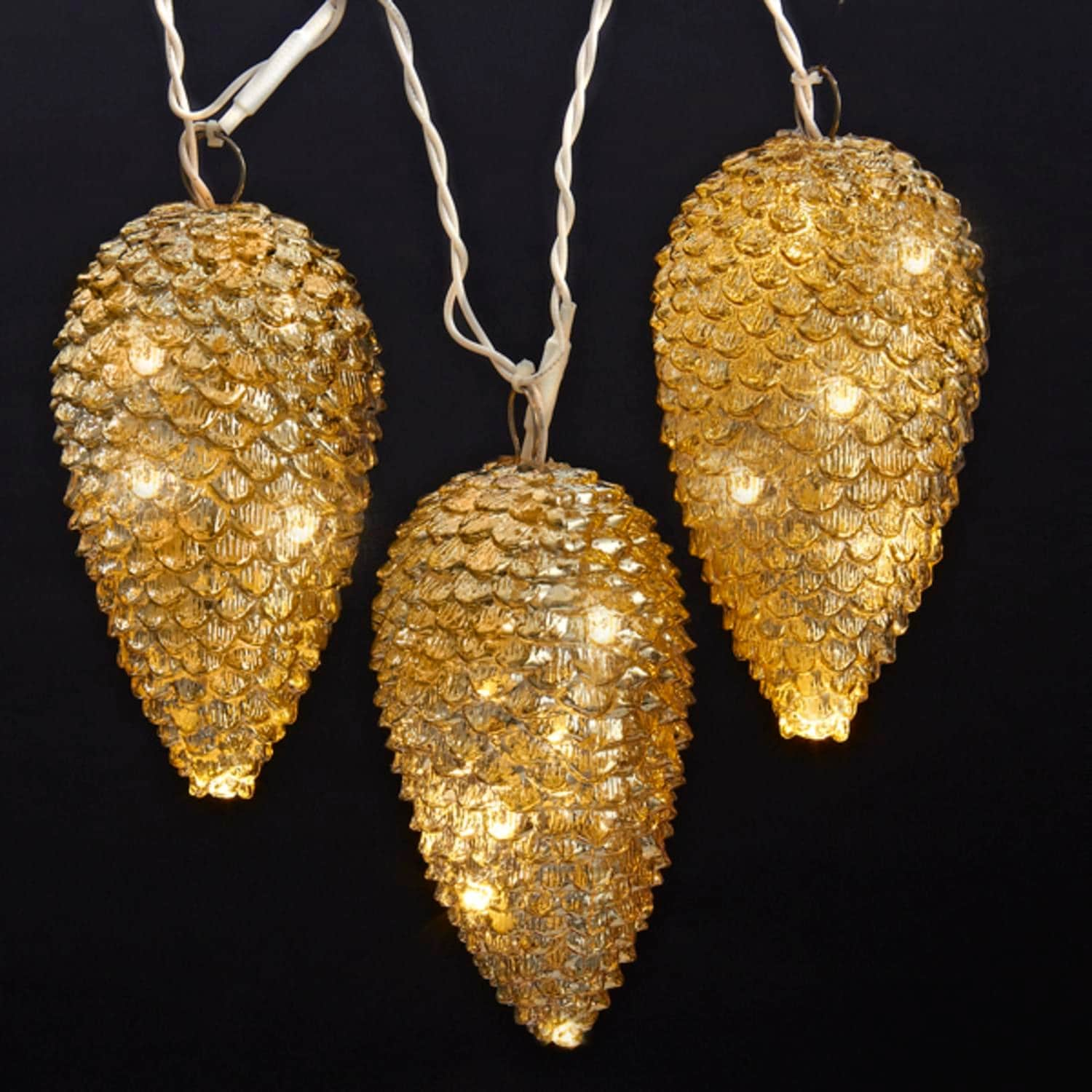 Shop Set of 5 Gold Pine Cone Novelty Christmas Lights 12\