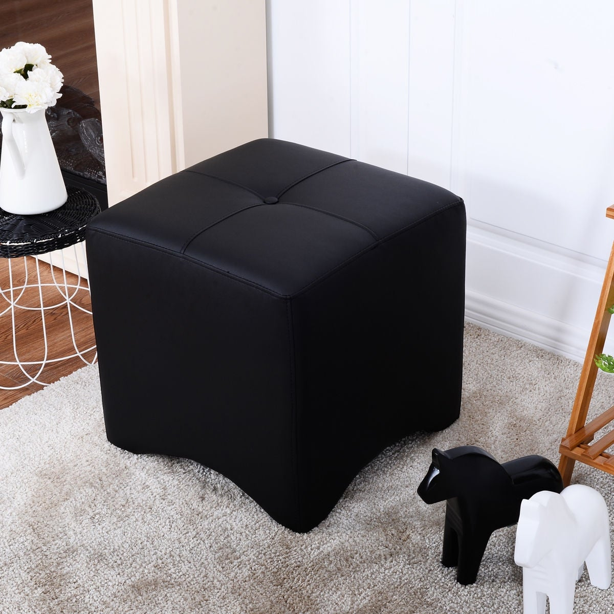 Costway PU Leather Square Cube Ottoman FootStool Rest Seating Home  Furniture Black New - Free Shipping Today - Overstock.com - 22737769