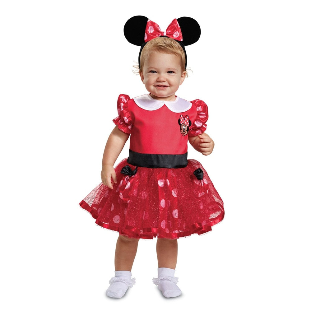 shop infant girls red minnie mouse dress halloween costume - free