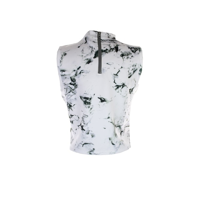 8e52a80b09f5c Shop Kiind Of Grey Sleeveless Marble-Print Mock Turtleneck Crop Top L - On  Sale - Free Shipping On Orders Over  45 - Overstock.com - 24187323