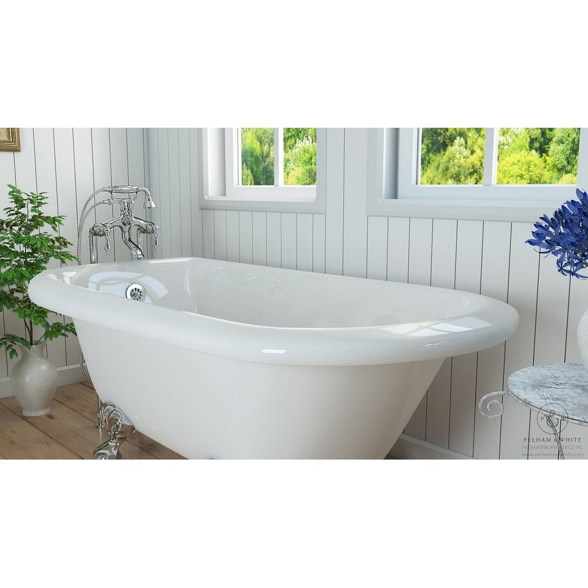 Shop Pelham & White Luxury 54 Inch Clawfoot Tub with Chrome Ball and ...