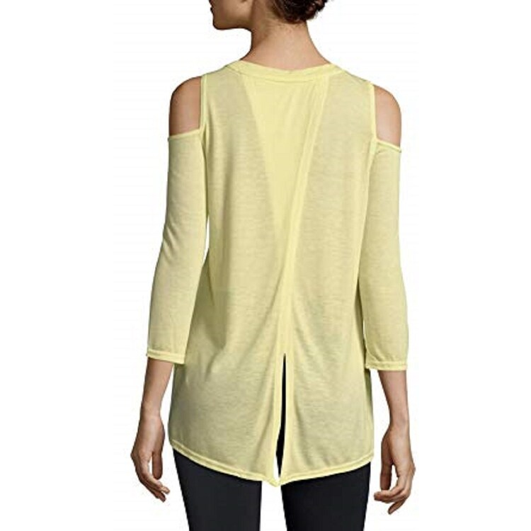 e9a0779fb1224 Shop Calvin Klein Performance Split-Back Women s Cold-Shoulder Top Yellow  Size XXL - XL - Free Shipping On Orders Over  45 - Overstock - 24303113