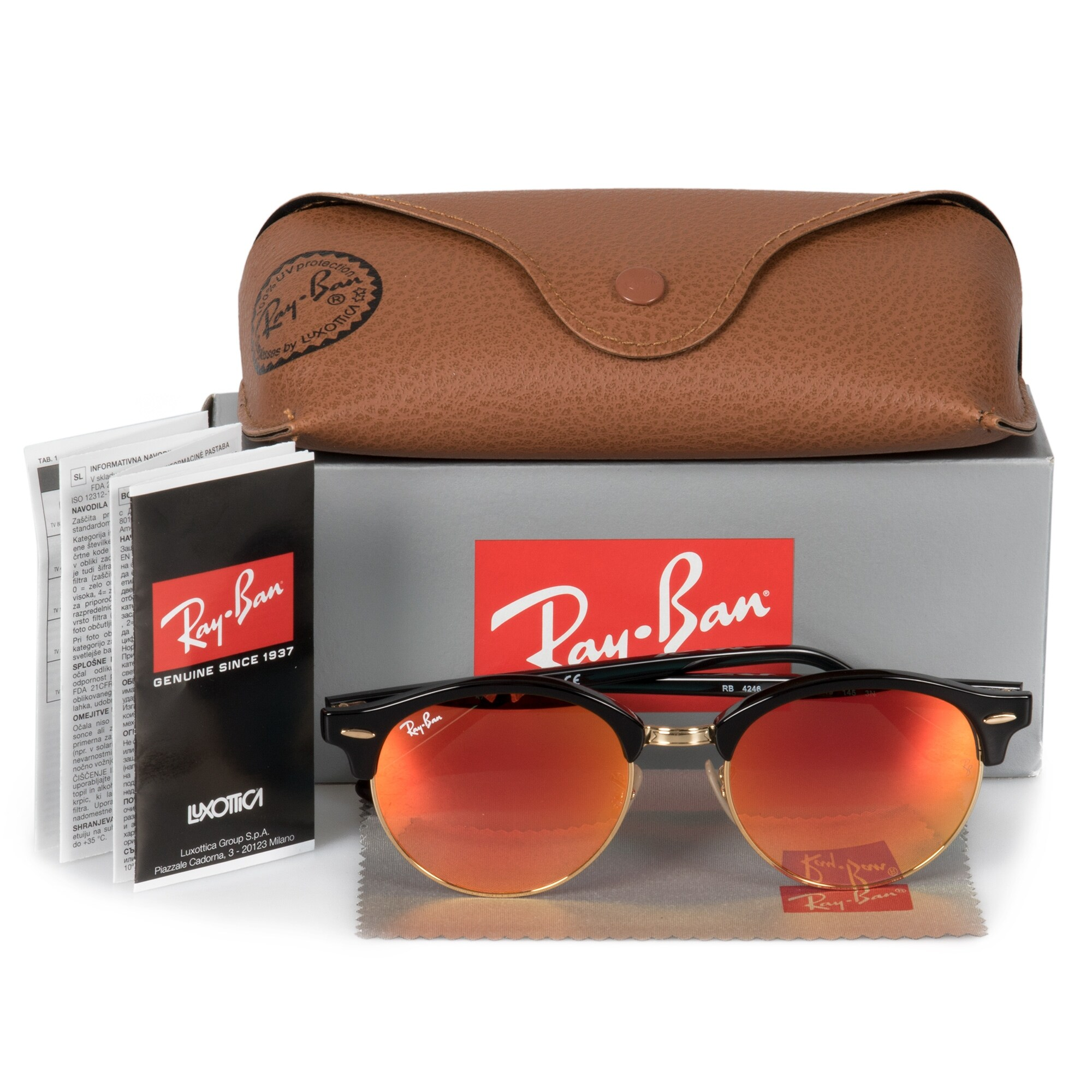 a05eaf58e5 Shop Ray-Ban Clubround Classic Sunglasses RB4246 901/4W 51 - Free Shipping  Today - Overstock - 23138961