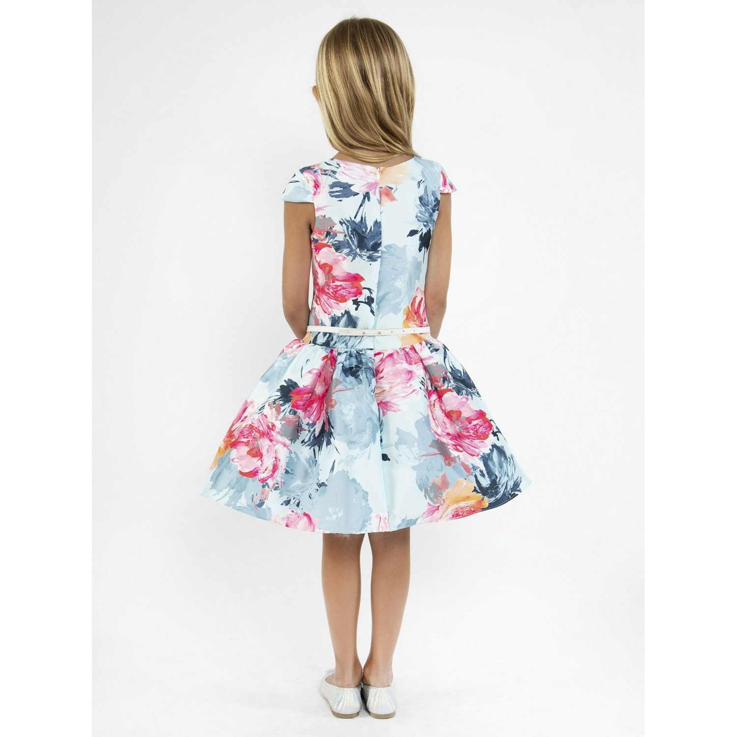 b911ee8d337 Shop Kids Dream Girls Baby Blue Floral Mikado Junior Bridesmaid Dress -  Free Shipping Today - Overstock - 23159691