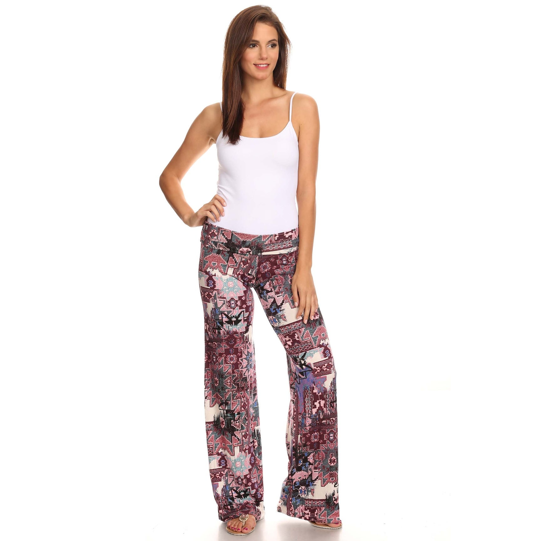 287aeef337b Shop Women s Printed Palazzo Pants Loose Fit With Flatten Waist Band Aztec  Tribal Damask Chevron Boho Bohemian Pailey Pattern - Free Shipping On  Orders Over ...