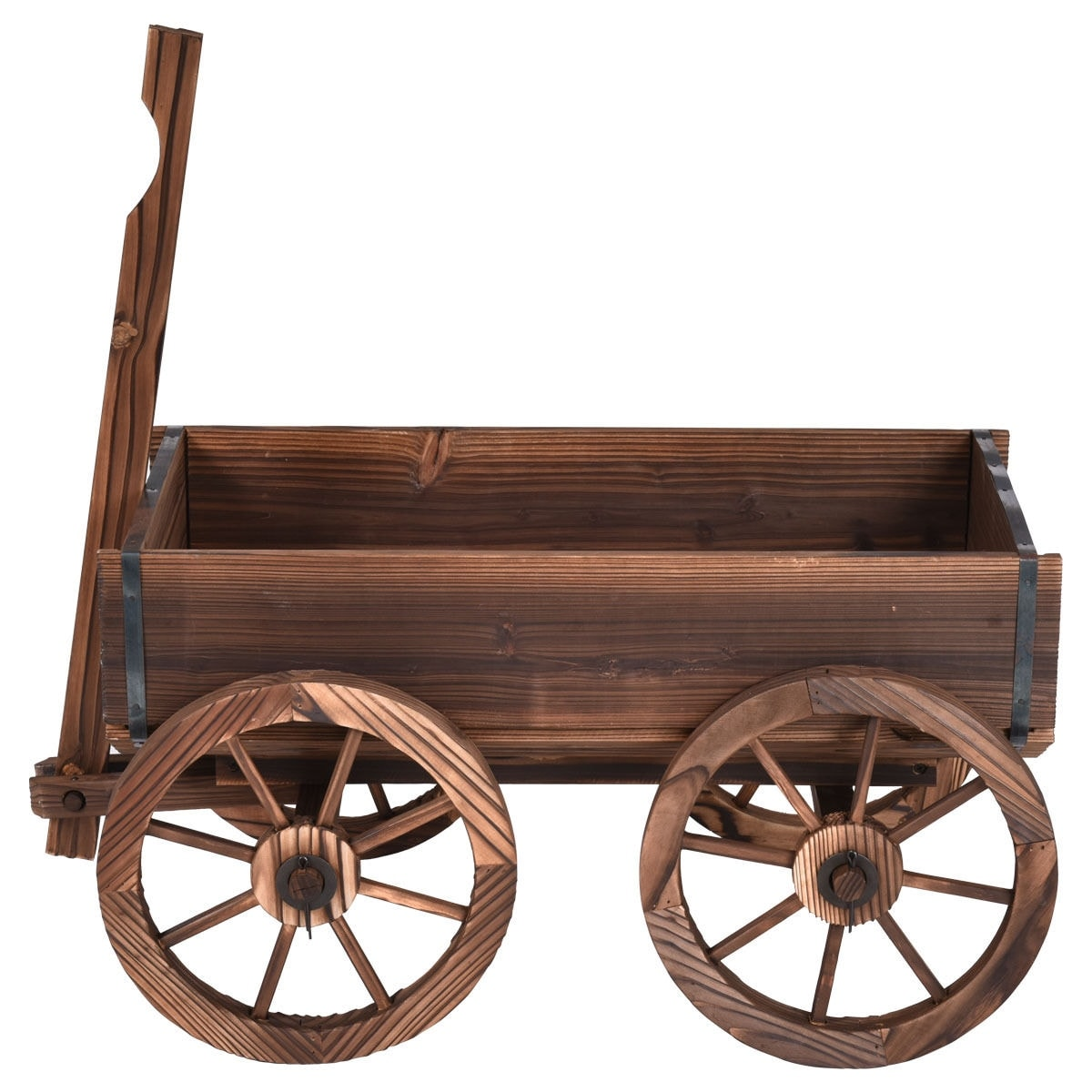 Shop Costway Wood Wagon Flower Planter Pot Stand W/Wheels Home Garden  Outdoor Decor   Free Shipping Today   Overstock.com   15982867