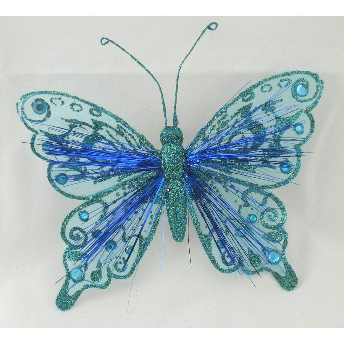 Factory Direct Craft Blue Glitter Tinsel Butterflies12 ButterfliesDesigned
