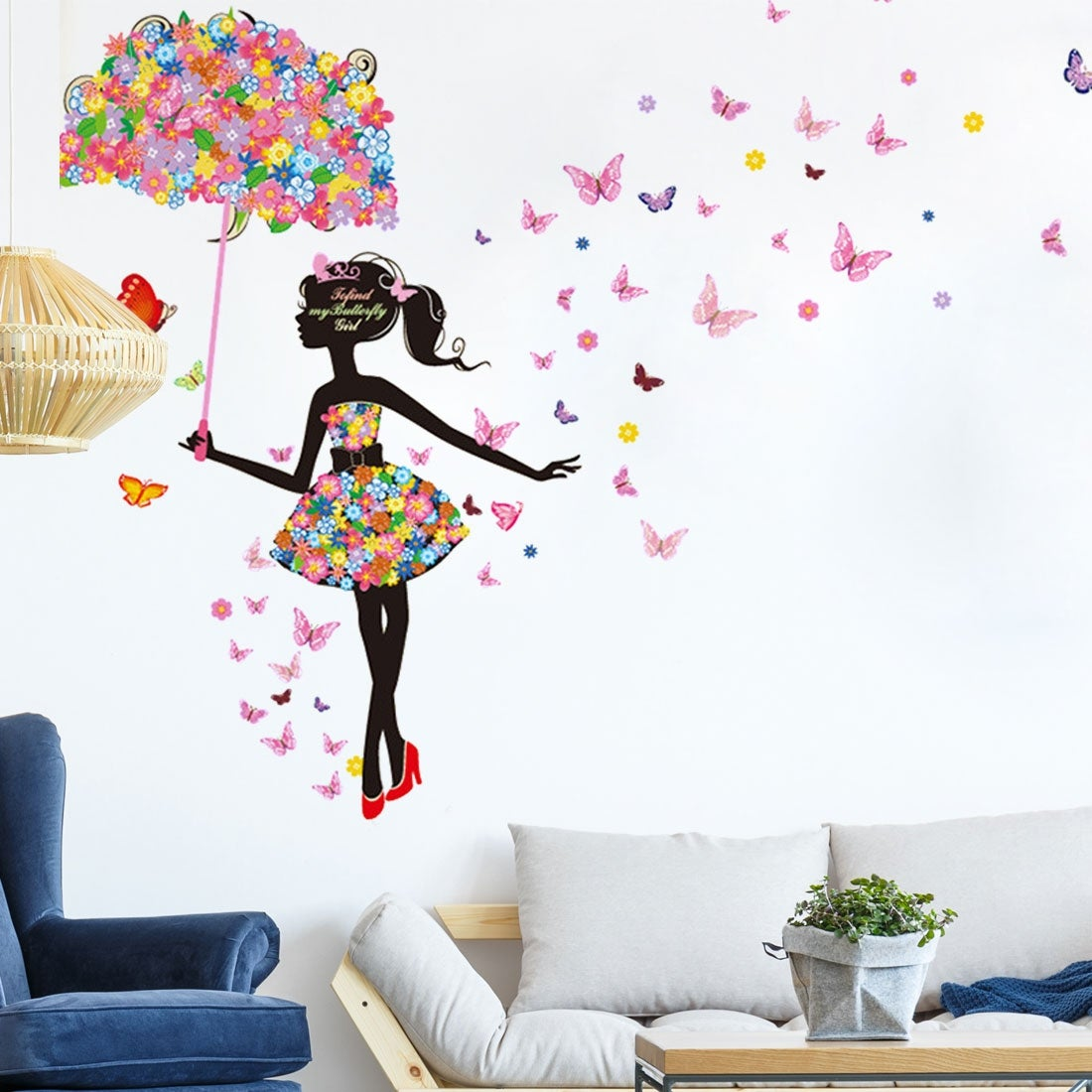 Shop Umbrella Butterfly Flower Girl Removable Vinyl DIY Wall Art Sticker 354x236