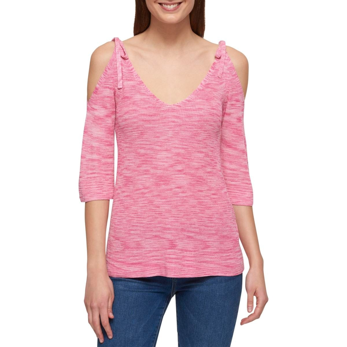 ae1536e6 Shop Tommy Hilfiger Womens Pullover Sweater 3/4 Sleeve Cold Shoulder - Free  Shipping On Orders Over $45 - Overstock.com - 21027132
