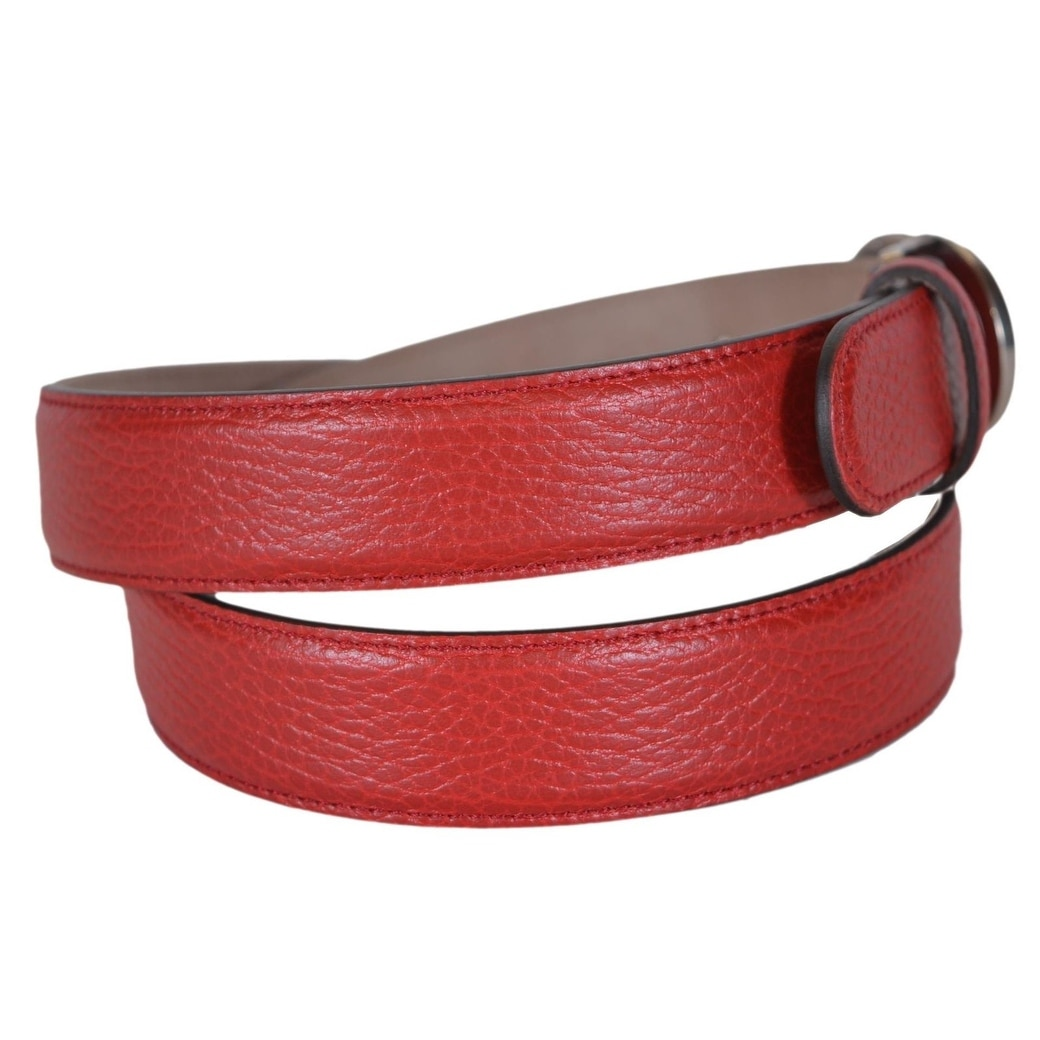 9f52119ef12 Shop Gucci Men s 295704 Red Leather Interlocking 2 Tone GG Buckle Belt 38  95 - Ships To Canada - Overstock - 20465293