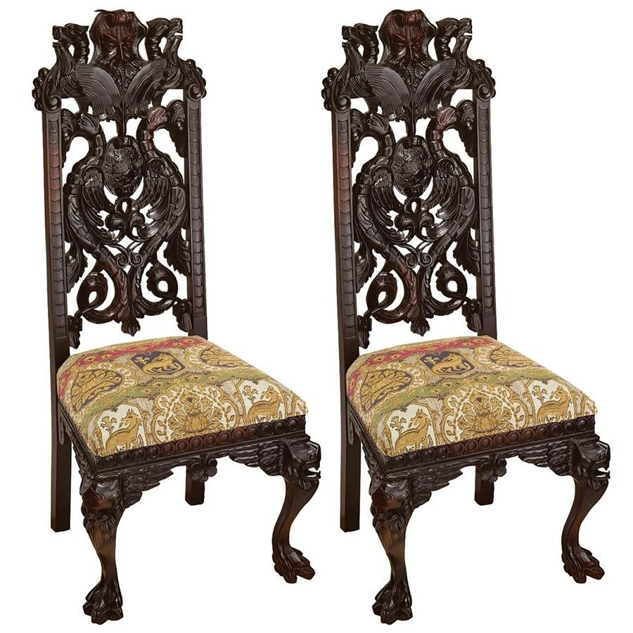 Knottingley Manor Chair: Set Of Two DESIGN TOSCANO Side Chair Hand Carved  Chair   Free Shipping Today   Overstock.com   26786759