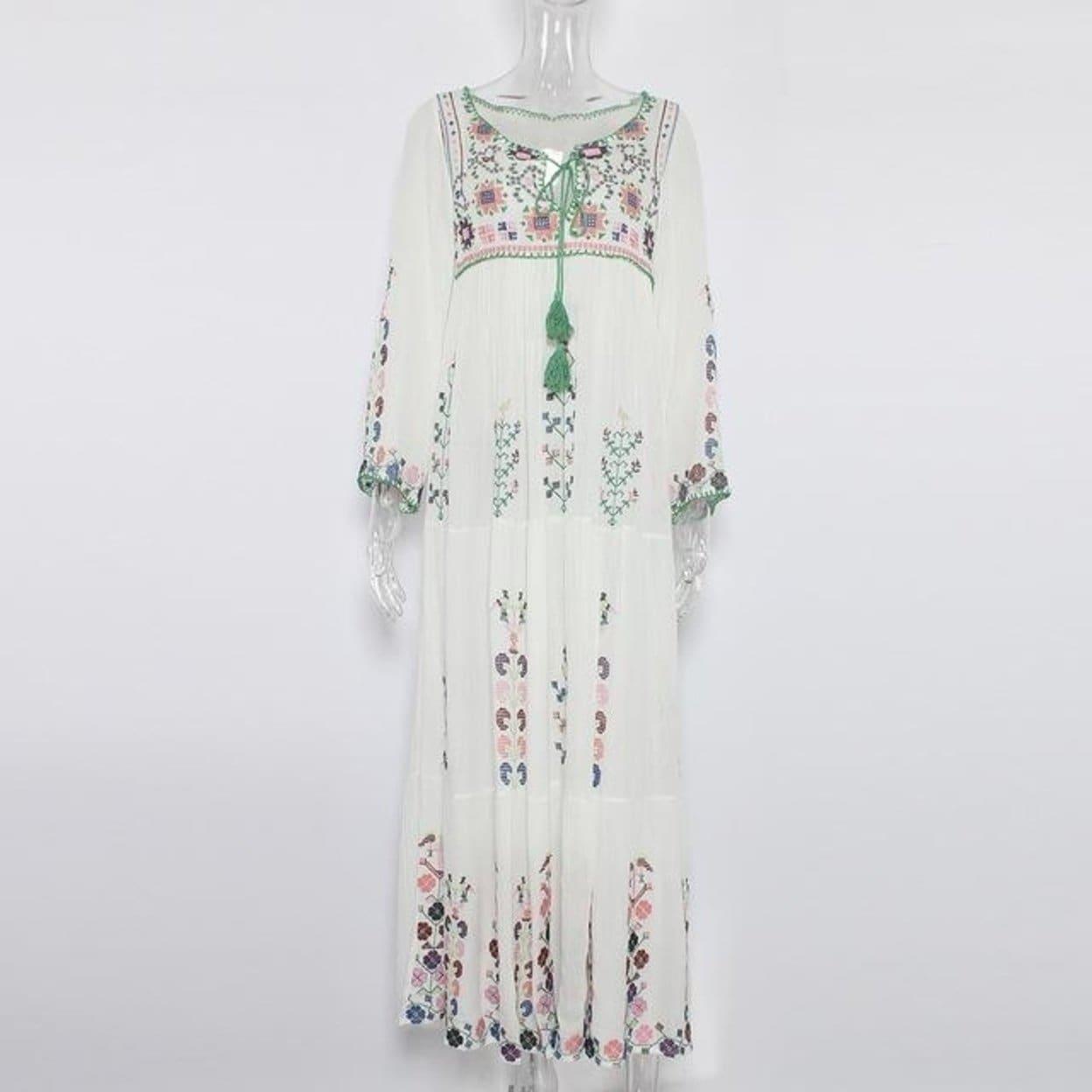 e331d53e6ebe4 Jastie Floral Embroidered Maxi Dress Tassel V-Neck Long Sleeve Summer Dress  Vintage Boho Chic Beach Style Dresses Vestidos 2017