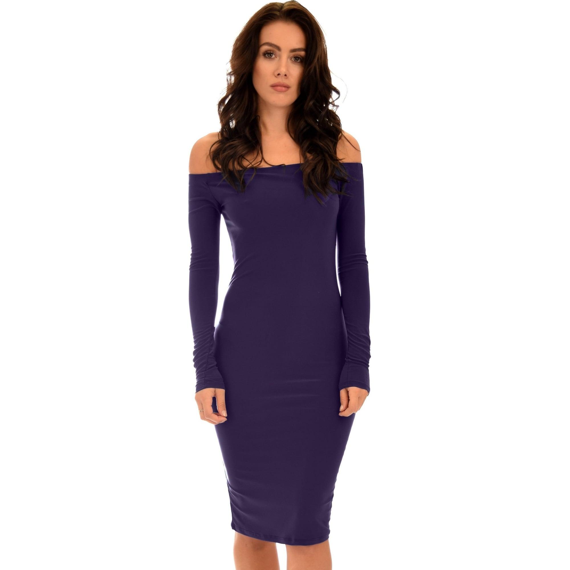 33f366d73334 Shop Bold Move Off The Shoulder Bodycon Black Midi Dress-Purple ...