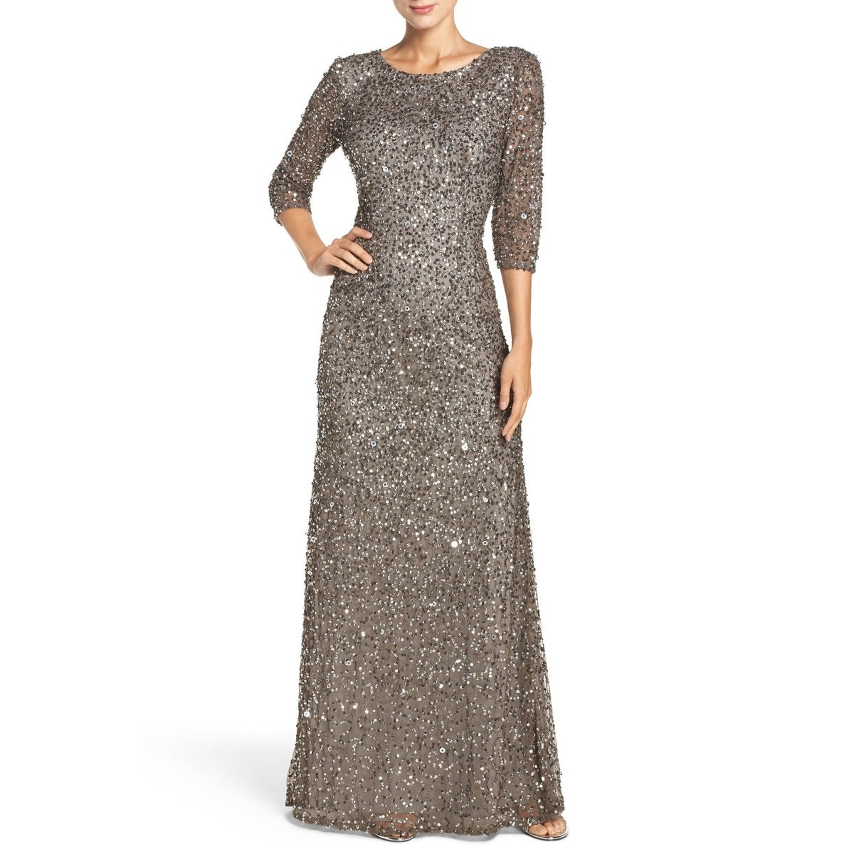 Shop Adrianna Papell 3/4-Sleeve Scoop-Back Sequin Gown Dress - Free ...