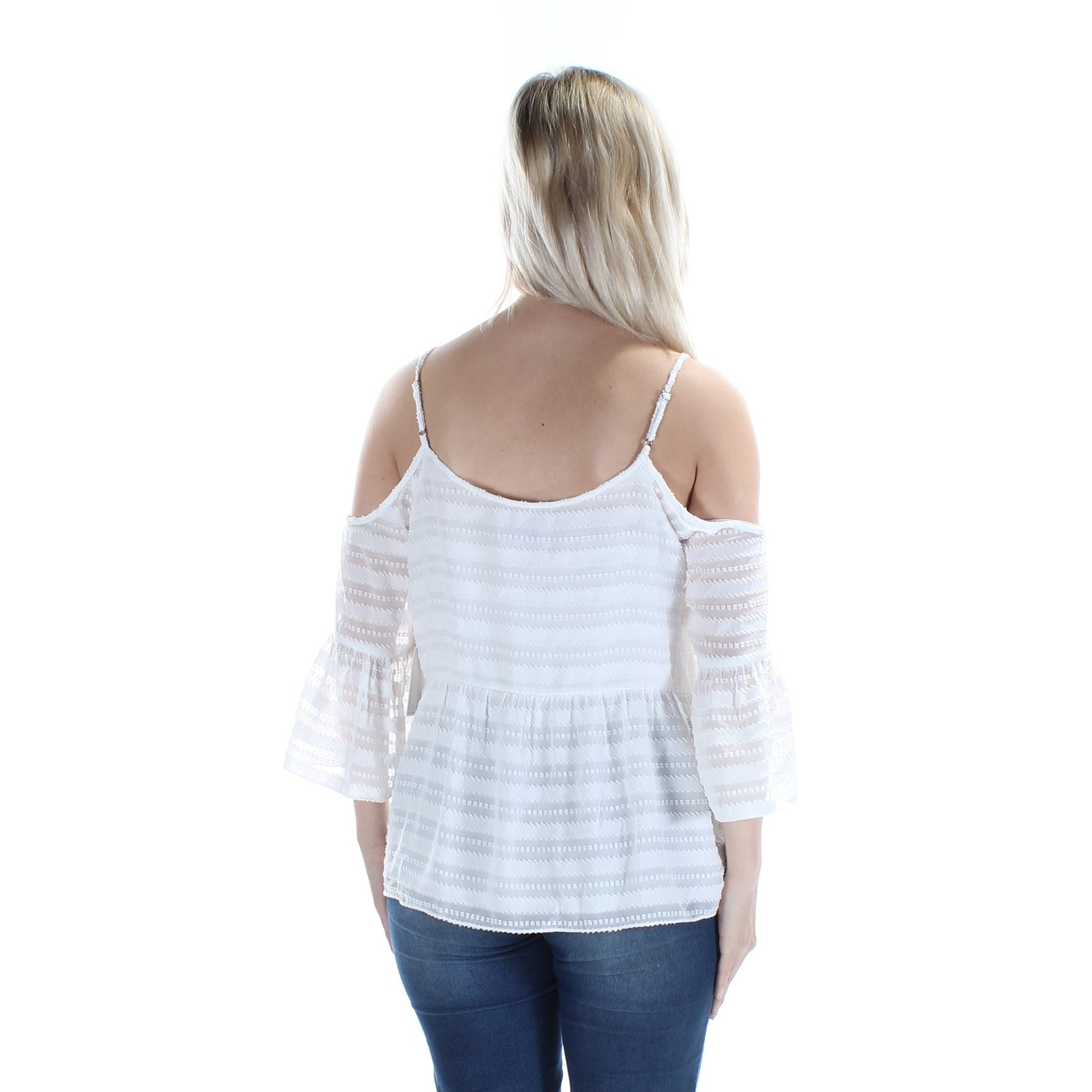 2fad8991e7771 STATE Womens Ivory Textured Striped Spaghetti Strap Off Shoulder Top Size   S - On Sale - Free Shipping On Orders Over  45 - Overstock - 21832849