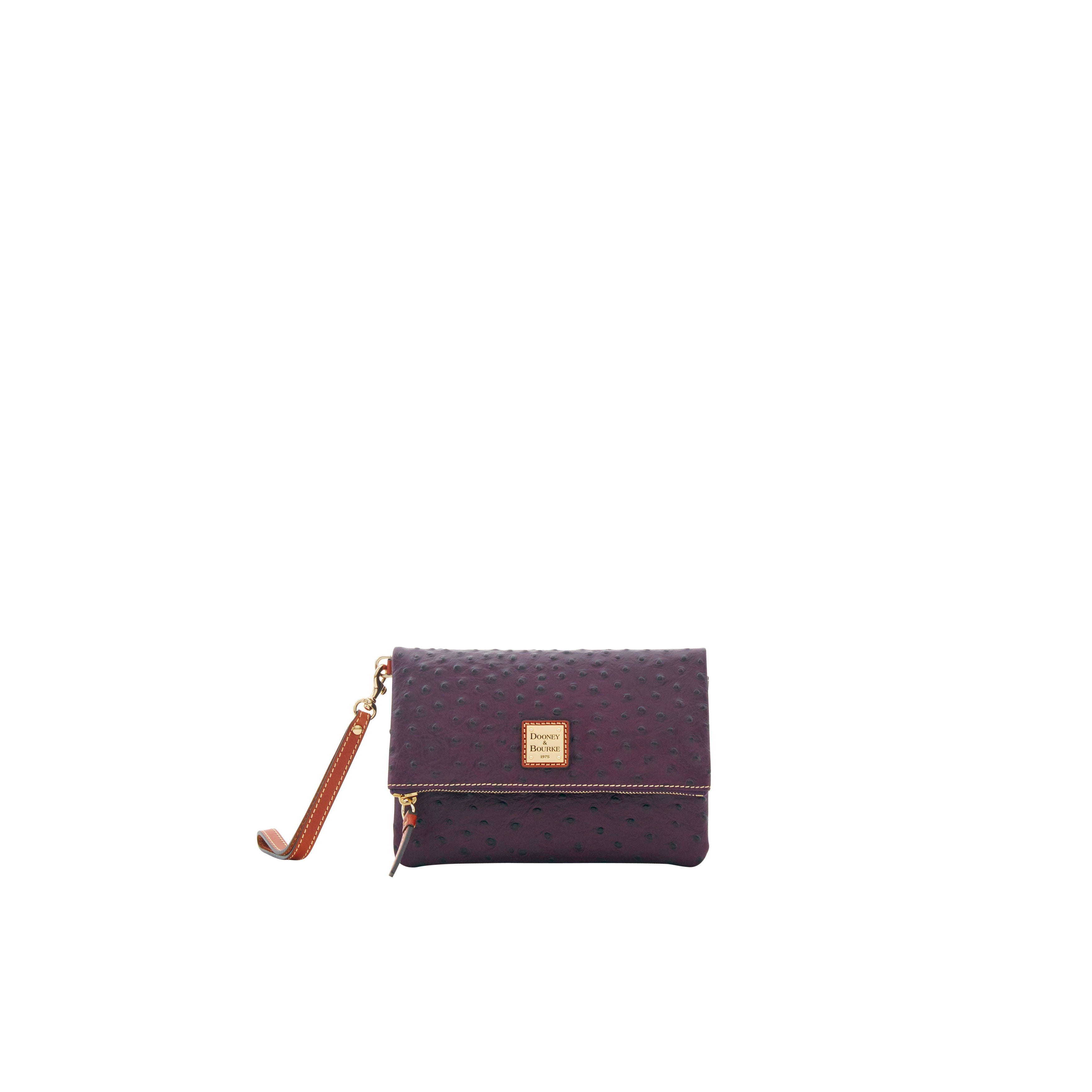 abd9976104c4 Shop Dooney & Bourke Ostrich Embossed Leather Foldover Wallet (Introduced  by Dooney & Bourke at $118 in Aug 2018) - Free Shipping Today - Overstock -  ...